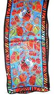 SCARF Long Silk Red Orange Green Turquoise Blue Background FRIENDLY KITTY CATS