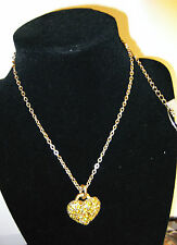 """Handmade HEART in YELLOW Crystals&Chain Necklace  by PILGRIM - 14 to17"""" Long NEW"""