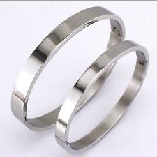 Charm Unisex Men Lover Stainless Steel Polished Cuff Bangle Bracelet Wristband