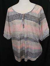 URBANE ~ White Grey Pink Geometric Dots Henley Viscose Peasant Blouse Shirt 16