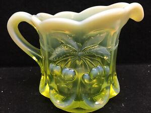 Vaseline opalescent Uranium glass coffee creamer dish pitcher cherry pattern art