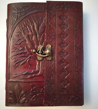 Tree of life leather journal , book of shadows Wicca Pagan Witch Diary Eco Paper