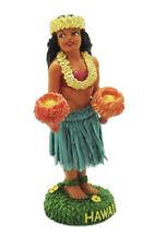 Hawaiian Dashboard Hula Girl Uli Uli Mini Doll Hawaii Aloha Islands Green Skirt