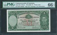 Australia 1 Pound Banknote 1942 Pick# 26b R30a-b PMG GEM UNC 66 EPQ