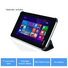 """7"""" pulgadas Folio Estuche TOSHIBA Encore Tablet Mini Soporte Funda de Cuero PU-NEGRO CLR"""