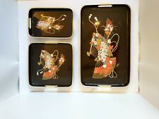 Vintage 3 Piece Nesting Tray Set - Toyo - Japan Lacquer Ware Japanese good cond.