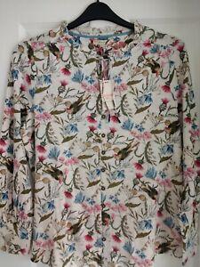 WHITE STUFF JOAN IVORY BIRD PRINT RUFFLE TRIM BLOUSE. UK 14, EUR 42. BNWT. £39