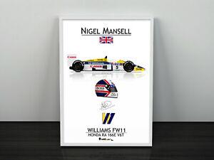 Nigel Mansell Williams FW11 F1 Print - Scuderia GP