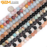 """Natural Assorted Frosted Matte Round Loose Gemstone Jewelry Making Beads 15"""""""