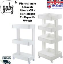 GABZ 3 OR 4 Tier Single & Double Sided Kitchen Storage Trolley Rack with Wheels