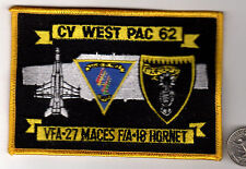 US Navy CV West PAC 62 VFA 27 MACES F-18 HORNET Squadron Patch Aircraft Carrier