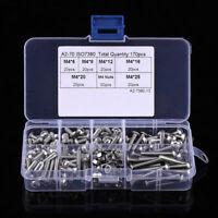 170x M4 304 Stainless Steel Hexagon Socket Screws Bolts Hex Nuts Assortment Kits