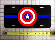 THIN BLUE LINE CAPTAIN AMERICA CUSTOM LICENSE PLATE POLICE LAW ENFORCEMENT