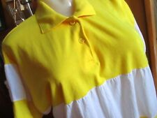Medium True Vtg 80's Yellow Segment Knit Collared Polo Top Tennis Shirt