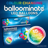 15 pack of Colour Changing LED Light Up Balloominate Balloons - All Occasions