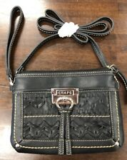 14f6504811 Chaps Ralph Lauren Black leather purse cross body Clutch NWOT