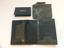 New TUMI Grant Coin Card Case CAMO Black Green Embossed Leather Wallet