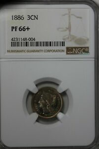 1886 3CN NGC PF 66+    Old Nickel Collector Coin, Liberty Three Cent Piece