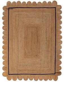 Scallop Jute Rug Natural Braided 100% Jute 3x5 Feet Rug Boho Home Decor Area Rug