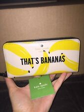 $178 NWT KATE SPADE THATS BANANAS LACEY FLIGHT OF FANCY ZIP AROUND WALLET, BAG