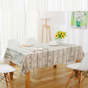 Cotton Linen Wood Grain Tablecloth Kitchen Dining Table Cloth Dustproof Cover