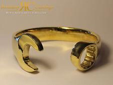 Men's Plain Solid Spanner Bangle Bracelet Sterling Silver Dipped in 9ct Gold
