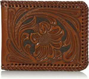Nocona Mens Floral Tooled Leather Whip Stitch Bifold Wallet