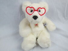 HEARTLINE WHITE VALENTINE TEDDY BEAR RED HEART GLASSES 1988 GRAPHIC KOREA PLUSH