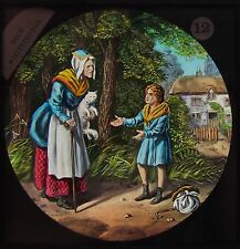 STUNNING COLOUR Glass Magic Lantern Slide DICK WHITTINGTON NO12 C1890 FAIRY TALE