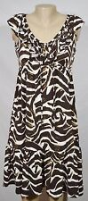 DONNA MORGAN Beige Brown Tan Patterned Sleeveless Dress 4 Ruffle Trim & Hem