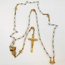 Art Deco Gold Tone Ornate Crystal Rosary Beads Miraculous Mother Sacred Heart