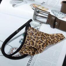 Männer C String Dessous Tanga String Höschen Unterwäsche Spandex Braun Leopard