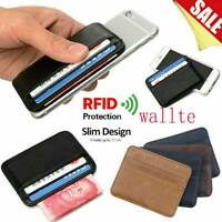 Mens RFID Blocking Leather Slim Wallet Money Clip Credit Card Holder Coin Pocket