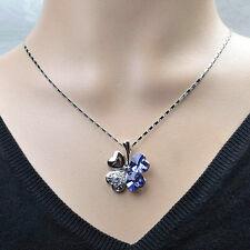 collier chaîne pendentif trèfles 4 feuilles cristal swarovski pq rhodium bleu