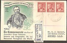 1948 Baron Ferdinand Von Mueller Strip Registered Gpo Sydney Nsw Wide World Fdc