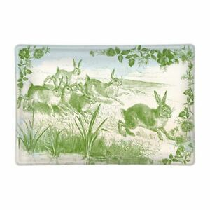 Michel Design Works Glass Trinket / Soap Dish Bunny Toile Green - NEW