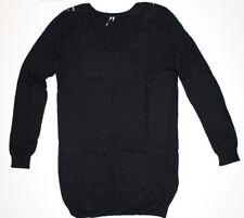 "IRO ""IONA"" Black Long Length Jumper Gold Embellished Shoulders Size 0 - UK 6 to"