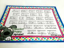 Polka Dot Puppy Dotted Lined Handwriting Dry Erase Laminated Full Sheet Mat