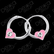 925 Sterling Silver 10mm Sleepers Hoops Earrings Heart Huggies Charm Sleeper