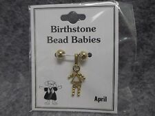 April Baby Birthstone Bead Babies Necklace Pendant Gold Tone Triangle Body