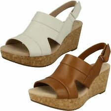 Ladies Clarks Annadel Ivory Tan Or White Leather Wedge Heel Sandals