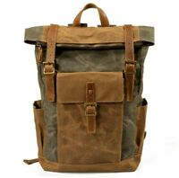 Vintage Womens Waterproof Oil Wax Canvas+Real Leather Backpack Sport Travel Bags