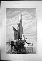 Antique Print Lagunes Venice Miss Clara Montalba Sailing Ship Gondola 1888 19th