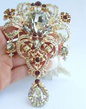 "Vintage 5.12"" Brown Rhinestone Crystal Teardrop Brooch Pin Pendant 04042C5a"