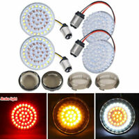 US 4X LED Turn Signals Light Inserts Smoke Lens Fit for Harley Street Road Glide