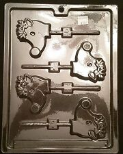 "Christmas Small Reindeer ""Rudolph"" Lolly Chocolate Plastic Candy Mold LOP C-26"