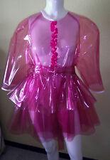 NEW PVC SEMI-TRANSPARENT PINK SISSY SHORT DRESS FRENCH MAID NURSE