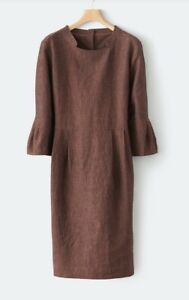 Poetry Dress UK 8 Rust Red Linen Wool Blend Mulberry NEW WITH TAGS