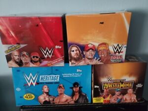 Lot of 4 Topps WWE 2015/2016 Sealed Hobby Boxes Heritage Autos Relics Rock