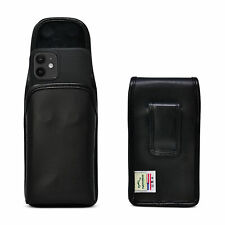 iPhone 12 Mini 5G (2020) Vertical Holster Case Black Leather Pouch with